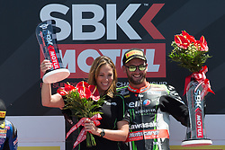 June 17, 2017 - Misano Adriatico, Italy - Tom Sykes of Kawasaki Racing Team celebrate the victory of  race 1 of the Motul FIM Superbike Championship, Riviera di Rimini Round, at Misano World Circuit ''Marco Simoncelli'', on June 17, 2017 in Misano Adriatico, Italy  (Credit Image: © Danilo Di Giovanni/NurPhoto via ZUMA Press)