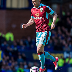 Burnley midfielder Robbie Brady (12) on the ball in the Premier League match between Everton and Burnley<br /> (c) John Baguley | SportPix.org.uk