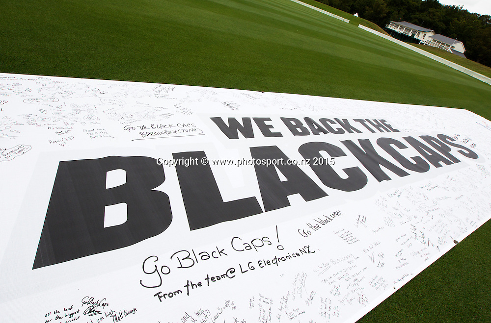 Black Caps banner with support and best wishes on following the Black Caps Cricket World Cup team naming held in the Hagley Pavillion in Christchurch. 8 January 2015 Photo: Joseph Johnson / www.photosport.co.nz