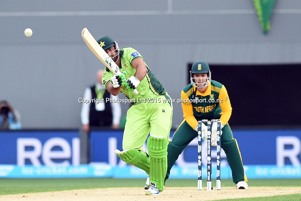Pakistan batsman Sohail Khan in action during the ICC Cricket World Cup match between Pakistan and South Africa at Eden Park in Auckland, New Zealand. Saturday 07 March 2015. Copyright Photo: Raghavan Venugopal / www.photosport.co.nz
