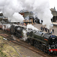 The Great Britain III en-route from Inverness to Edinburgh pulled by BR Britannia Class &MT 4-6-2 no 70013 Oliver Cromwell and LNER K4 Class 2-6-0 no 61994 The Great Marquess leaves Perth railway station.....13.04.10<br /> Picture by Graeme Hart.<br /> Copyright Perthshire Picture Agency<br /> Tel: 01738 623350  Mobile: 07990 594431