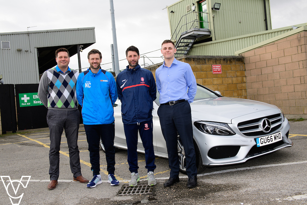 Lincoln City commercial sponsorship deal for a Mercedes car used by the club's manager Danny Cowley.  Pictured, from left, Mike Wells (Argentum Finance), Lincoln City's assistant manager Nicky Cowley, Lincoln City manager Danny Cowley and Jake Matthews (Just Vehicle Solutions). <br /> <br /> Picture: Chris Vaughan Photography<br /> Date: March 6, 2017