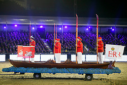 © Licensed to London News Pictures. 15/05/2016. Windsor, UK. Royal Swan uppers in a boat. An evening event held at the Royal Windsor Horse show to celebrate the 90th birthday of HRH Queen Elizabeth II. Acts from arounds the world have been invited to perform at the evening event, set in the grounds of Windsor Castle. Photo credit: Ben Cawthra/LNP
