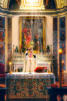 """Father Peek raises the Chalice for Adoration - The New Church of San Francesco in Assisi""…<br />