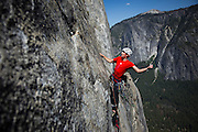 Climber Alex Honnold leads the last pitches of Tangerine Trip on El Capitan in Yosemite National Park.
