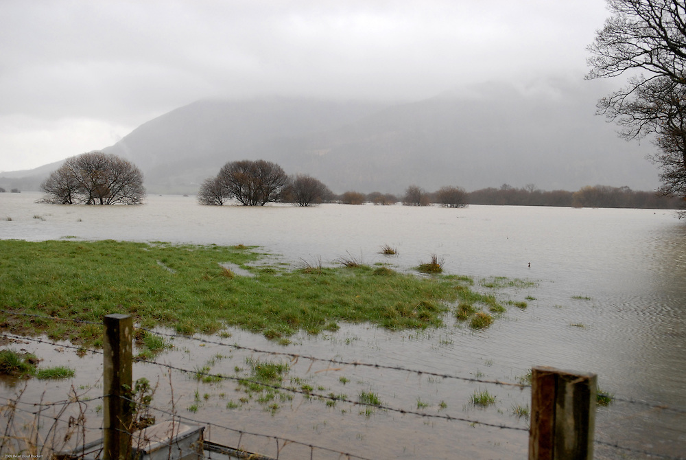 Flooded fields near Cockermouth in Cumbria