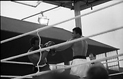 Ali vs Lewis Fight, Croke Park,Dublin.<br /> 1972.<br /> 19.07.1972.<br /> 07.19.1972.<br /> 19th July 1972.<br /> As part of his built up for a World Championship attempt against the current champion, 'Smokin' Joe Frazier,Muhammad Ali fought Al 'Blue' Lewis at Croke Park,Dublin,Ireland. Muhammad Ali won the fight with a TKO when the fight was stopped in the eleventh round.<br /> <br /> Image,as Ali lands a left he sets up to throw a right to the head of Lewis.