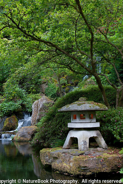 Portland Japanese Gardens is a place of wonder and beauty.  A lighted lantern with lush green and a waterfall in the background make this a perfect spot for contemplation.