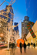 New York City. Christmas decorations adorn 57th Street in front of 9 West 57th Street during Christmas Season.