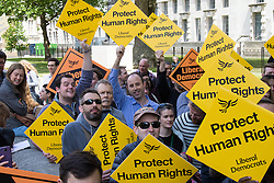 "Whitehall, London, May 30th 2015. Hundreds in ""Great British Right Off"" protest against government plans to repeal the Human Rights act, seen as an obstacle to upholding British laws."