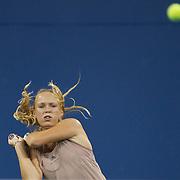 Caroline Wozniacki, Denmark, in action against Melanie Oudin, USA,  during the US Open Tennis Tournament at Flushing Meadows, New York, USA, on Wednesday, September 9, 2009. Photo Tim Clayton.