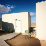 The Hotel Aire de Bardenas(airedebardenas.com) blends into its surroundings, inviting guests to.immerse themselves in the lunar landscape via vast window seats. Named after the local wind, it was.built with recycled materials where possible and a brief to limit its impact on the environment.