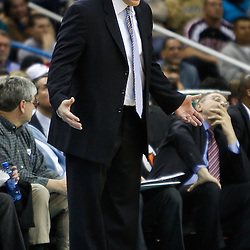 February 12, 2011; New Orleans, LA, USA; Chicago Bulls head coach Tom Thibodeau against the New Orleans Hornets during the third quarter at the New Orleans Arena. The Bulls defeated the Hornets 97-88.  Mandatory Credit: Derick E. Hingle