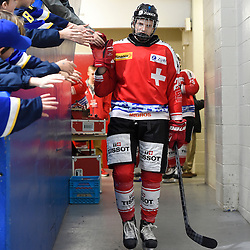 WHITBY, - Dec 15, 2015 -  WJAC Game 6- Team Russia vs Team Switzerland at the 2015 World Junior A Challenge at the Iroquois Park Recreation Complex, ON. Andre' Heim #26 of Team Switzerland heads to the ice before the first period.(Photo: Andy Corneau / OJHL Images)