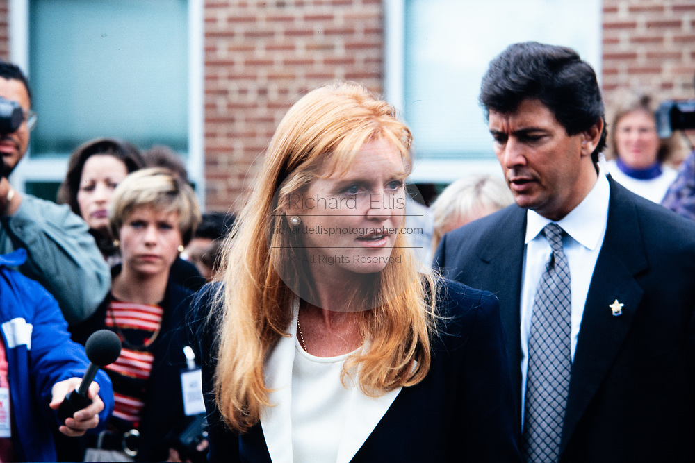 Sarah Ferguson, the Duchess of York, departs Weyanoke Elementary school October 20, 1995 in Alexandria, Virginia. The duchess watched the students take an eye exam and will later attend the International Eye Foundations Eye Ball to raise funds for improving eye care for children.