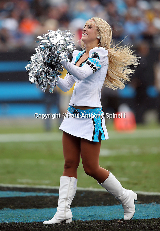A Carolina Panthers cheerleader cheers for the team during the Carolina Panthers 2015 NFL week 3 regular season football game against the New Orleans Saints on Sunday, Sept. 27, 2015 in Charlotte, N.C. The Panthers won the game 27-22. (©Paul Anthony Spinelli)