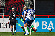 Megan Walsh (GK) (Brighton) saves a ball looked on by Bethany England (Chelsea) during the FA Women's Super League match between Brighton and Hove Albion Women and Chelsea at The People's Pension Stadium, Crawley, England on 15 September 2019.