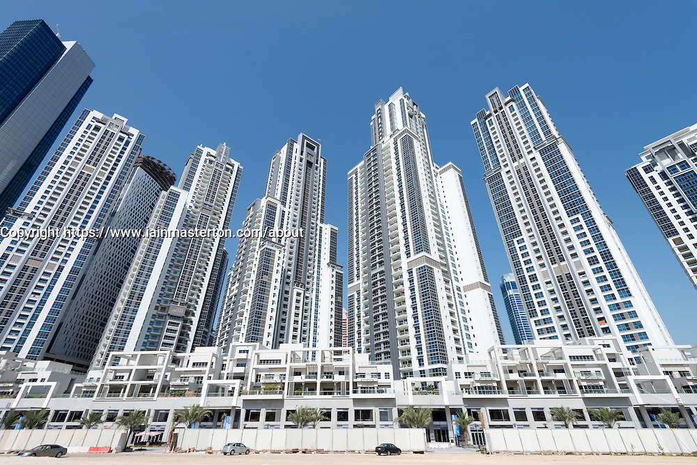 High-rise modern apartment buildings at Business Bay in Dubai United Arab Emirates