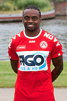 Kortrijk's Landry Mulemo poses for the photographer during the 2014-2015 season photo shoot of Belgian first league soccer team KV Kortrijk, Tuesday 08 July 2014 in Kortrijk.