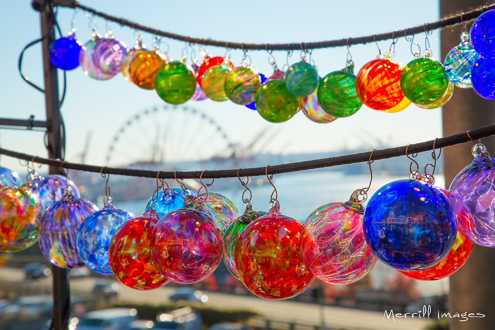 United States, Washington, Seattle. Glass ball ornaments for sale at an outdoor market in Seattle