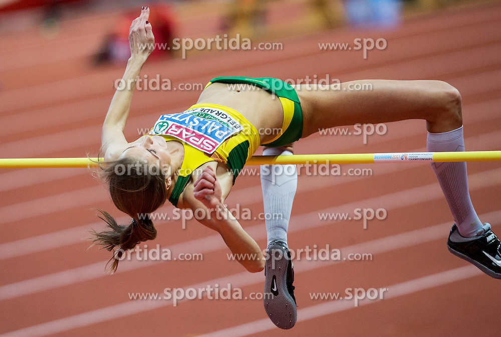 Airinė Palšytė of Lithuania competes during the High Jump Women Final on day two of the 2017 European Athletics Indoor Championships at the Kombank Arena on March 4, 2017 in Belgrade, Serbia. Photo by Vid Ponikvar / Sportida