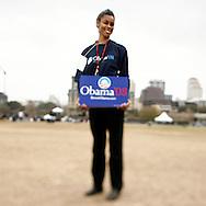 Volunteer Zenobia Joseph attends a rally held for U.S. Senator Barack Obama in Austin, Texas, February 23, 2007.