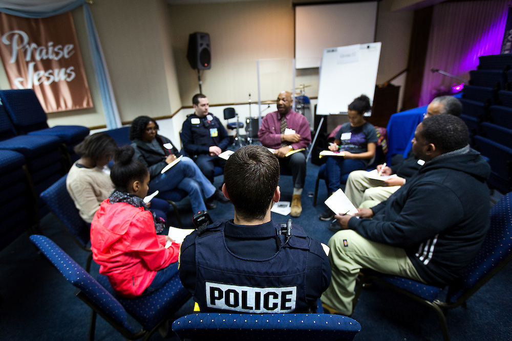 MILWAUKEE, WI – MARCH 28: Harambee community members and Milwaukee Police Department officers participate in a Zeidler Center discussion group at Grace Fellowship Church on Monday, March 28, 2016.