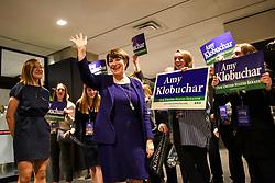 Sen. Amy Klobuchar arrives at the Intercontinental Hotel in St. Paul, Minn., at DFL headquarters election party on Tuesday, November 6, 2018. Photo by Aaron Lavinsky/Minneapolis Star Tribune/TNS/ABACAPRESS.COM