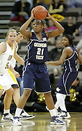 28 NOVEMBER 2007: Georgia Tech forward Janie Mitchell (21) looks for an open player to pass the ball to in the first half of Georgia Tech's 76-57 win over Iowa in the Big Ten/ACC Challenge at Carver-Hawkeye Arena in Iowa City, Iowa on November 28, 2007.
