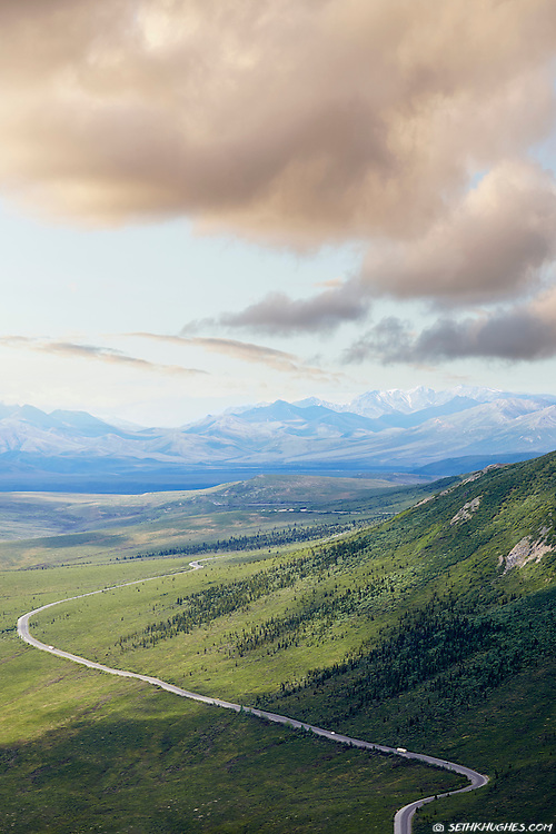 An Aerial view of the Park Road winding through the vast, Denali National Park, Alaska.