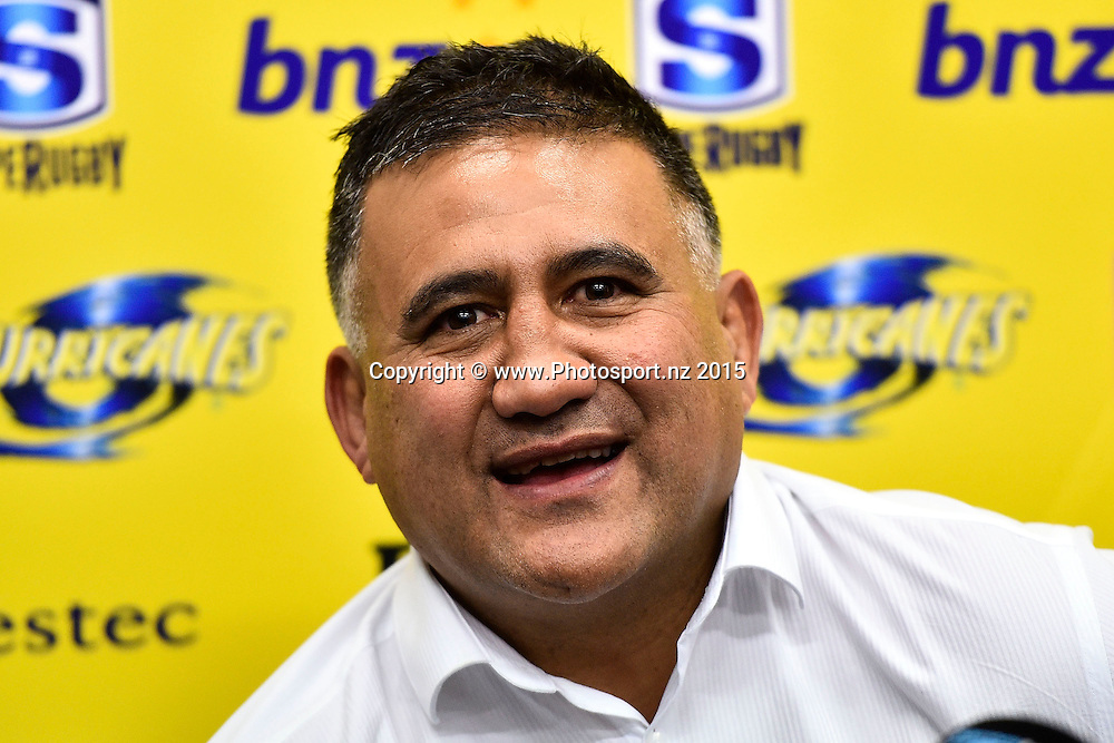 Highlanders head coach Jamie Joseph speaks to the media during the Super Rugby final rugby match between the Hurricanes and Highlanders at the Westpac Stadium in Wellington on Saturday the 4th of July 2015. Copyright photo by Marty Melville / www.Photosport.nz
