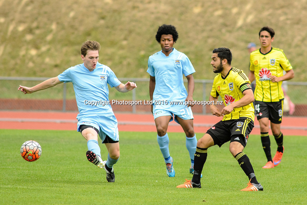Corey Chettleburgh intercepts ball intended for Justin Gulley during ASB premiership Wellington Phoenix vs. Hawke's Bay United match at Newtown Park, Wellington, New Zealand. Saturday 6th February  2016. Copyright Photo: Elias Rodriguez / www.Photosport.nz