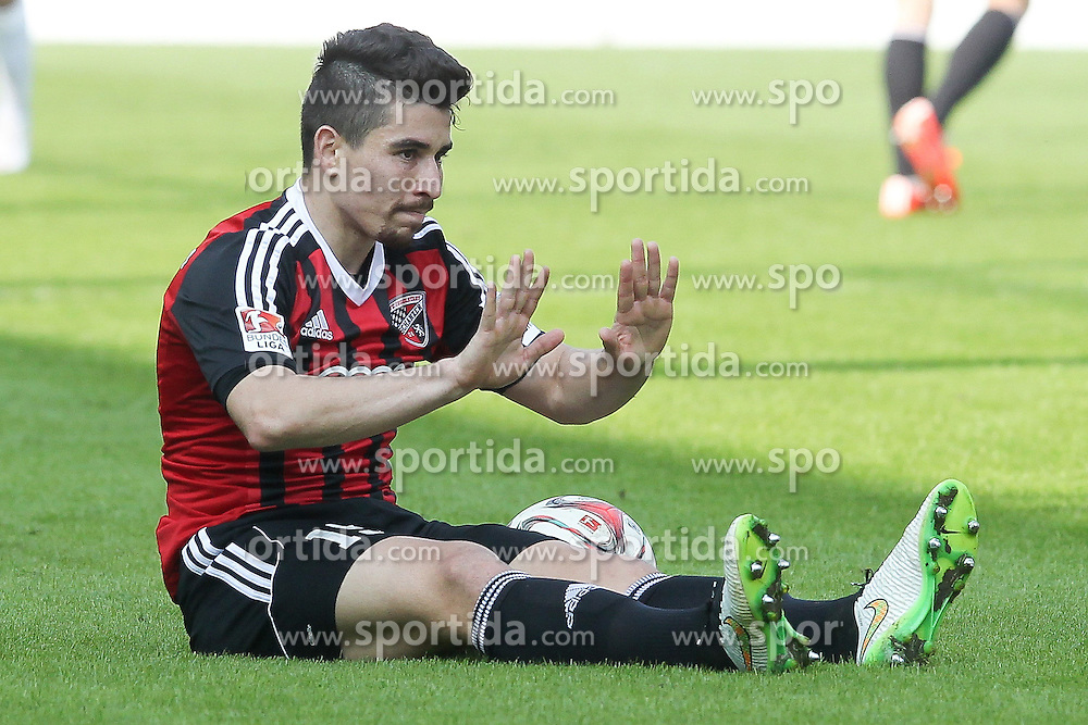 15.03.2015, Audi Sportpark, Ingolstadt, GER, 2. FBL, FC Ingolstadt 04 vs Karlsruher SC, 25. Runde, im Bild Danilo Soares Toedoro (Nr.15, FC Ingolstadt 04) nach Foul am Boden // during the 2nd German Bundesliga 25th round match between FC Ingolstadt 04 and Karlsruher SC at the Audi Sportpark in Ingolstadt, Germany on 2015/03/15. EXPA Pictures &copy; 2015, PhotoCredit: EXPA/ Eibner-Pressefoto/ Strisch<br /> <br /> *****ATTENTION - OUT of GER*****