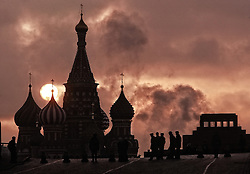 Basil Cathedral and Lenin's mausoleum at the sunrise on the Red Square in Moscow, Russia, 07 November 2005.