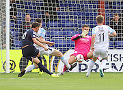 Dundee keeper Kyle Letheren saves Ross County's Filip Kiss' shot - Ross County v Dundee, SPFL Premiership at the Global Energy Stadium, Dingwall<br /> <br />  - &copy; David Young - www.davidyoungphoto.co.uk - email: davidyoungphoto@gmail.com