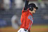 Ole Miss' Brantly Bell (28) drives in the winning run vs. Arkansas-Little Rock at Oxford-University Stadium in Oxford, Miss. on Friday, March 7, 2014. Ole Miss won 2-1 in ten innings. (AP Photo/Oxford Eagle, Bruce Newman)