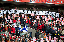 LONDON, ENGLAND - Saturday, April 14, 2012: Liverpool supporters' banner 'Expose the Lies Before Thatcher Dies' before the FA Cup Semi-Final match at Wembley. (Pic by David Rawcliffe/Propaganda)