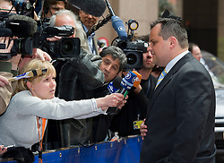Jan Kees De Jager, the Netherlands's finance minister, makes a statement to the media as she arrives for the emergency meeting of European Union finance ministers in Brussels, Belgium, on Sunday, May 9, 2010.  European Union finance ministers meet today to hammer out the details of an emergency fund to prevent a sovereign debt crisis from shattering confidence in the 11-year-old euro. (Photo © Jock Fistick)