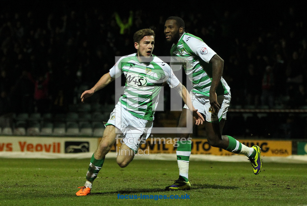 Joe Ralls (left) of Yeovil Town celebrates scoring his sides first goal during the Sky Bet Championship match at Huish Park, Yeovil<br /> Picture by Tom Smith/Focus Images Ltd 07545141164<br /> 11/02/2014