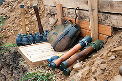German grenades and water bottle stand on the side of a trench at the Ponderosa Wartime Weekend Heckmondwike.<br /> 9th July 2011.<br /> Images © Paul David Drabble