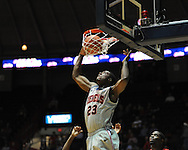 """Ole Miss' Reginald Buckner (23) dunks at C.M. """"Tad"""" Smith Coliseum in Oxford, Miss. on Wednesday, December 14, 2011. (AP Photo/Oxford Eagle, Bruce Newman)"""