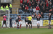 Dundee players react as referee Alan Muir awards Aberdeen a penalty - Dundee v Aberdeen in the Clydesdale Bank Scottish Premier League at Dens Park.. - © David Young - www.davidyoungphoto.co.uk - email: davidyoungphoto@gmail.com