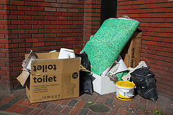 © Licensed to London News Pictures. 01/05/2020. London, UK. A pile of rubbish collected on a road in Wood Green, north London. Recycling centres have been closed since the lockdown and councils are planning to reopen them in phases. The coronavirus lockdown continues to slow the spread of COVID-19 and reduce pressure on the NHS.  Photo credit: Dinendra Haria/LNP