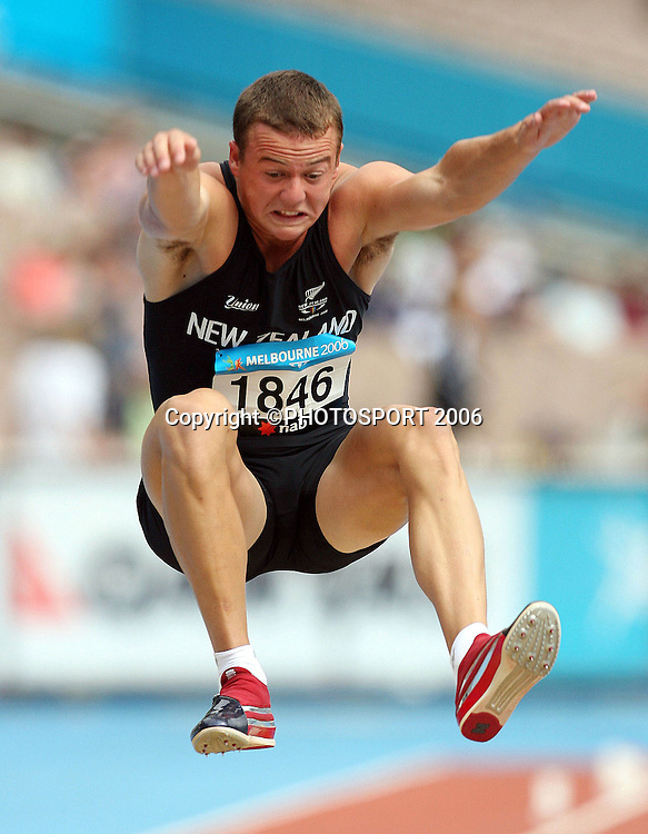 Brent Newdick (NZL) competes in the Decathlon long jump on Day 5 of the XVIII Commonwealth Games at the Exhibition Centre, Melbourne, Australia on Monday 20 March, 2006. Photo: Hannah Johnston/PHOTOSPORT<br /><br />150528