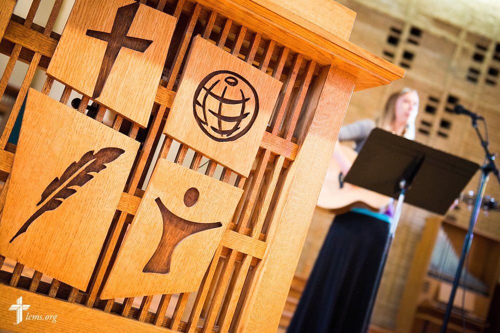 Shelly Schwalm, director of church relations and ministry associate, helps lead chapel service in Graebner Memorial Chapel on the campus of Concordia University, Saint Paul, on Wednesday, August 6, 2014, in St. Paul, Minn.   LCMS Communications/Erik M. Lunsford