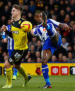 Picture by David Horn/Focus Images Ltd +44 7545 970036<br /> 14/12/2013<br /> Sean Murray of Watford and Jose Semedo of Sheffield Wednesday during the Sky Bet Championship match at Vicarage Road, Watford.