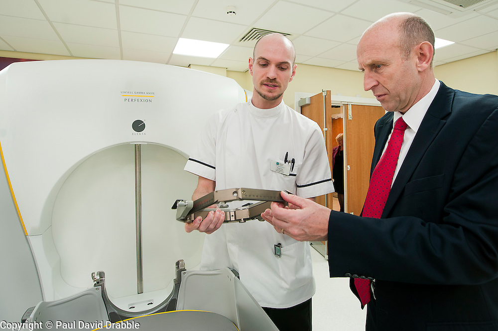 John Healey MP Member for Wentworth  Dearne (right) with Lead Radiographer Robert Ward during his  Visit to Thornbury Medical Centre Gamma Knife Radio Therapy system..17th October 2011. Image © Paul David Drabble