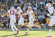 PASADENA, CA - JANUARY 1:  Christian McCaffrey #5 of the Stanford Cardinal celebrates with Rollins Stallworth #13 during the 102nd Rose Bowl game between Stanford and the Iowa Hawkeyes played on January 1, 2016 at the Rose Bowl stadium in Pasadena, California.  (Photo by David Madison/Getty Images) *** Local Caption *** Christian McCaffrey