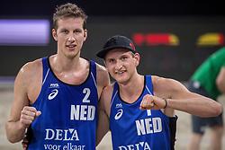 06-01-2018 NED: DELA Beach Open day 4, Den Haag<br /> Christiaan Varenhorst NED #1 en Jasper Bouter NED #2 zijn door naar de achtste finale op het DELA Beach Open. De mannen van Beachvolleybal Team Nederland hebben met 2-1 gewonnen van het Russische team Ivanov/Leshukov.