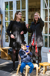 Pictured: Councillor Gail Macgregor chats to Childcare Practitioner Laura O'Brian as Yousaf (4 3/4) waits his turn on the swing<br /> <br /> Minister for Childcare and Early Years Maree Todd and Councillor Gail Macgregor  visited Cameron House nursery school in Edinburgh today to see the Early Learning Childcare (ELC) provision in action<br /> <br /> Ger Harley | EEm 1 May 2018